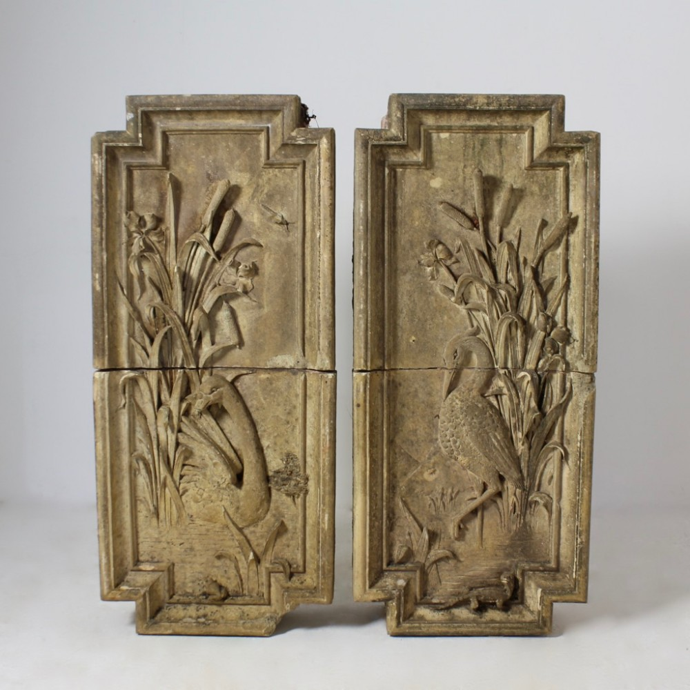 pair of large early 20th century terracotta panels