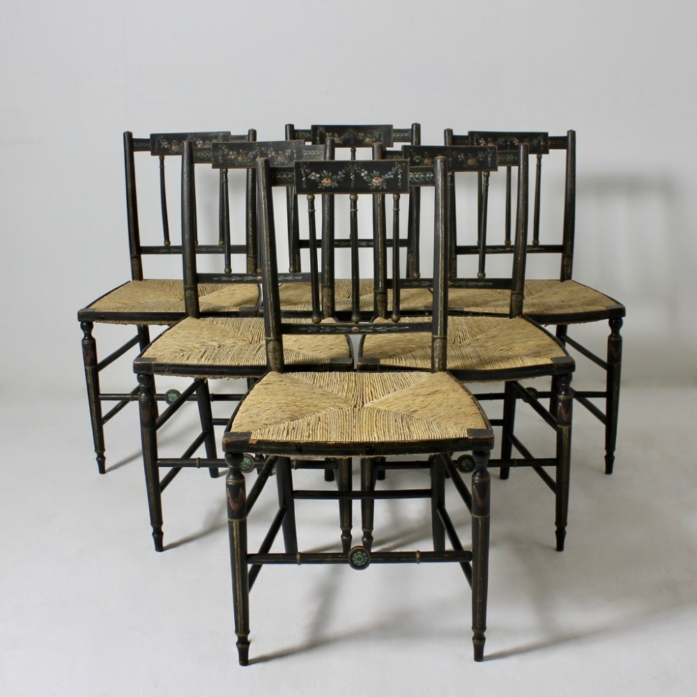 set of six regency original painted side occasional chairs