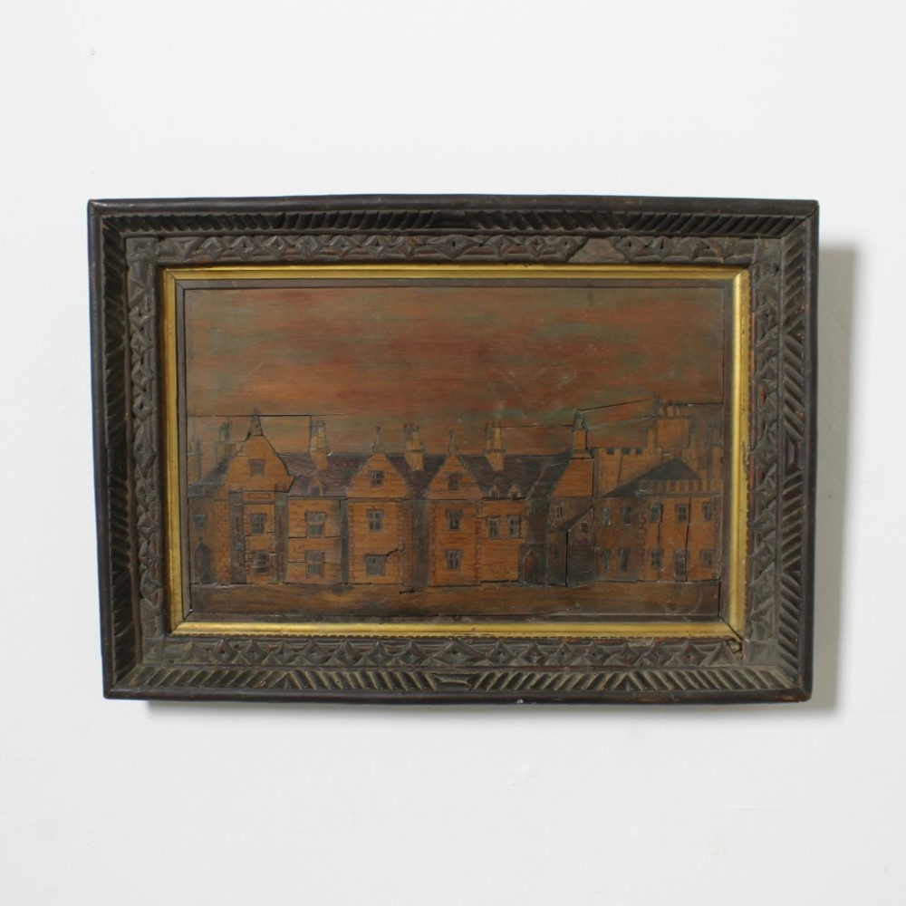 a rare english early 19th century marquetry picture