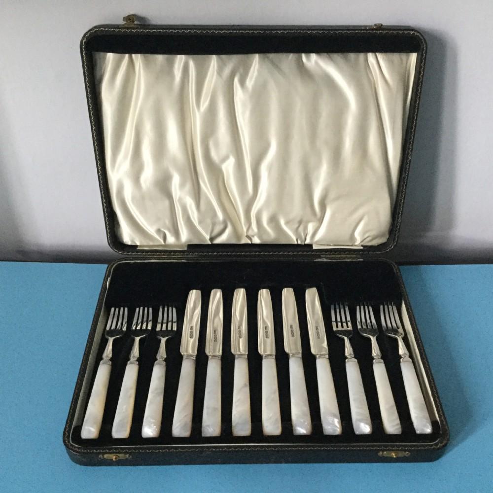 deco era set of 12 silver fruitcheese knives forks sheffield 1931 emile viner