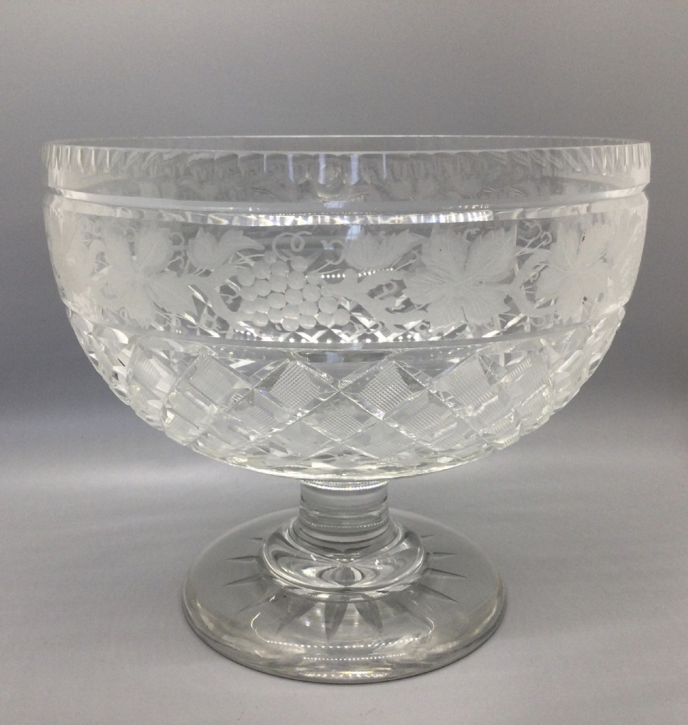 george v engraved and cut lead crystal bowl c1910