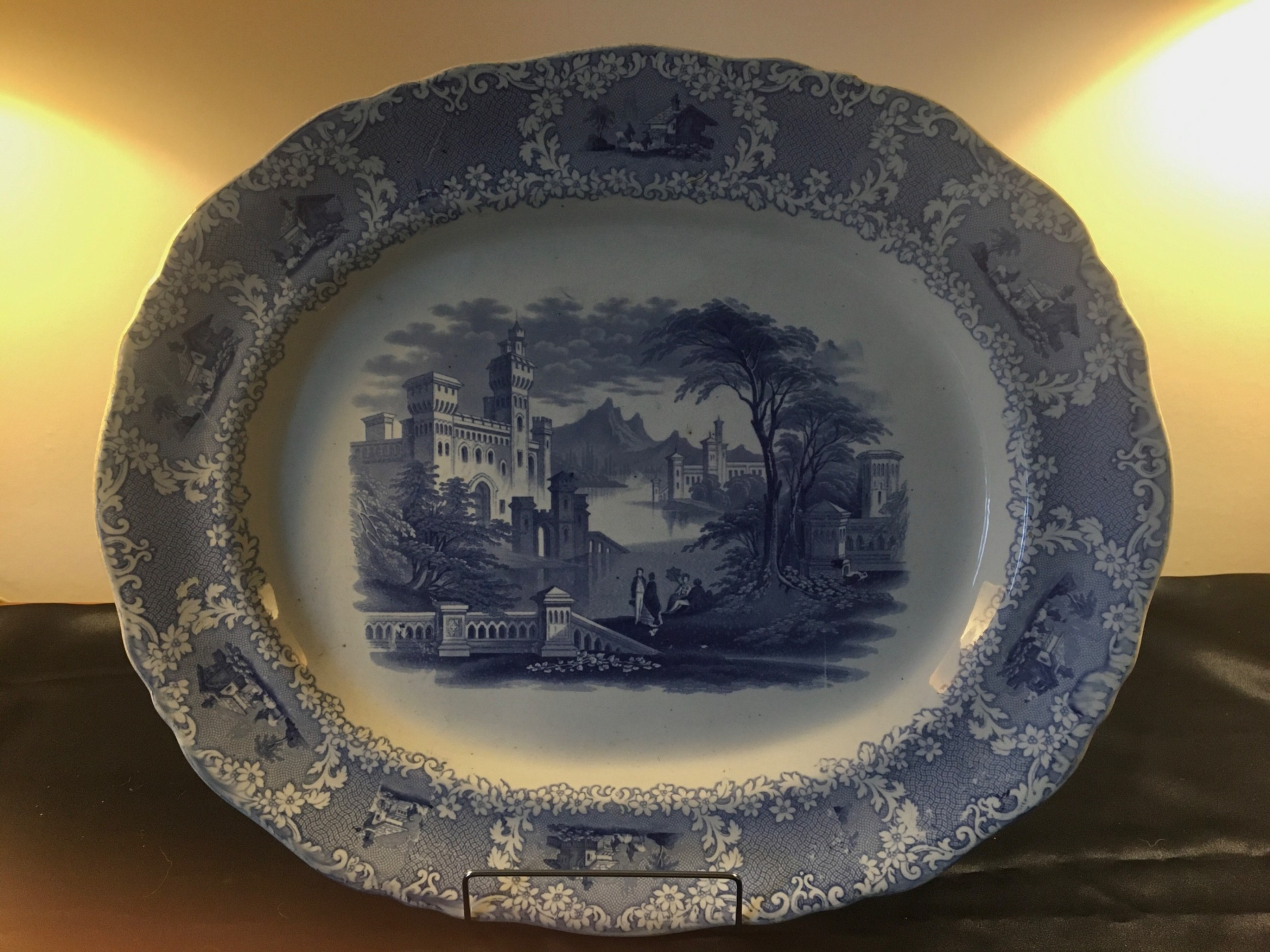 large 19thc staffs bluewhite serving plate by w j butterfield c1860