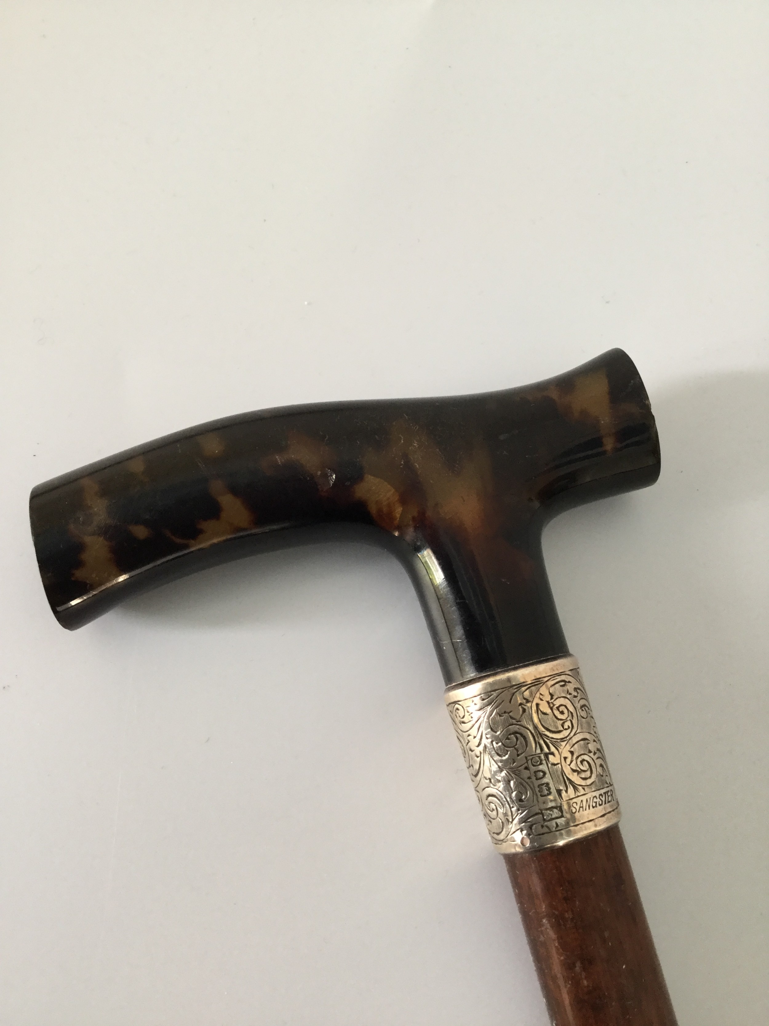 edwardian silver tortoiseshell and partridge wood stick cane london 1909 by sangster