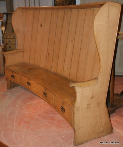 curved pine farmhouse settle