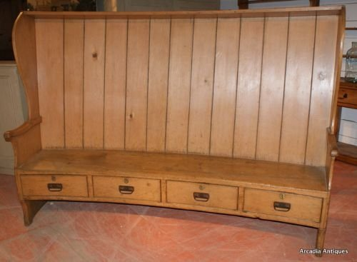 curved pine farmhouse settle - photo angle #2