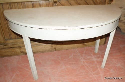 pair of demi lune console tables - photo angle #2