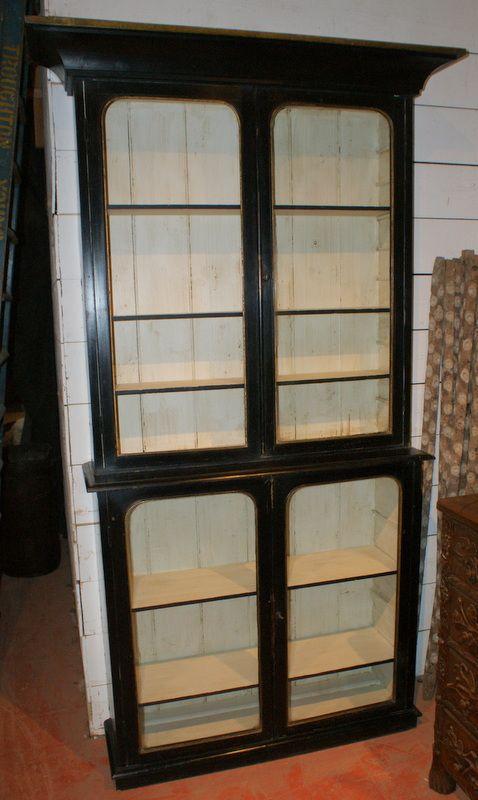 black gilt display cabinet. antique photo - Black & Gilt Display Cabinet 234285 Sellingantiques.co.uk
