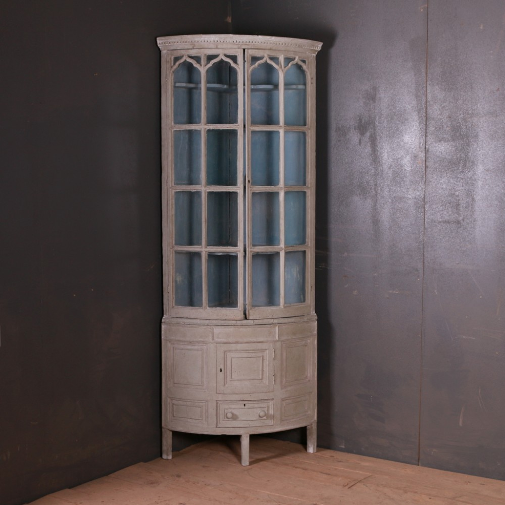 narrow english corner cupboard