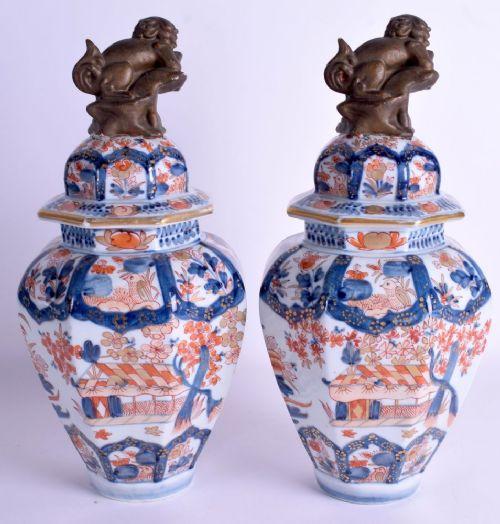 pair of samson porcelain lidded vases