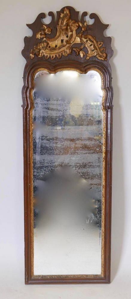 danish painted and parcelgilt pier mirror