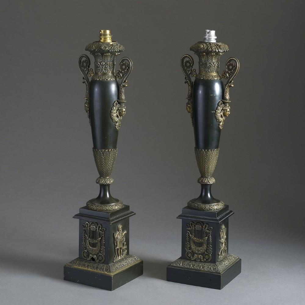 pair of charles x ormolumounted bronze lamps