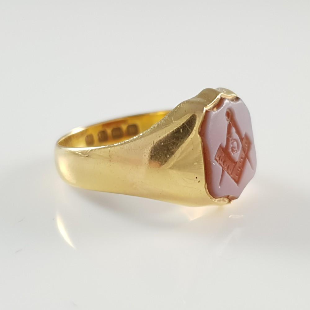 Victorian 18ct Yellow Gold Masonic Carnelian Signet Seal Ring 1886