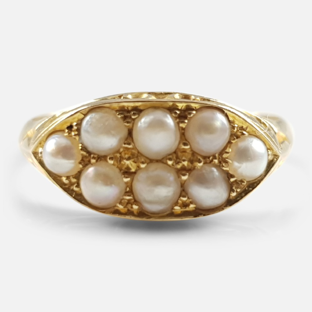 antique 1908 edwardian 18ct yellow gold seed pearl cluster ring