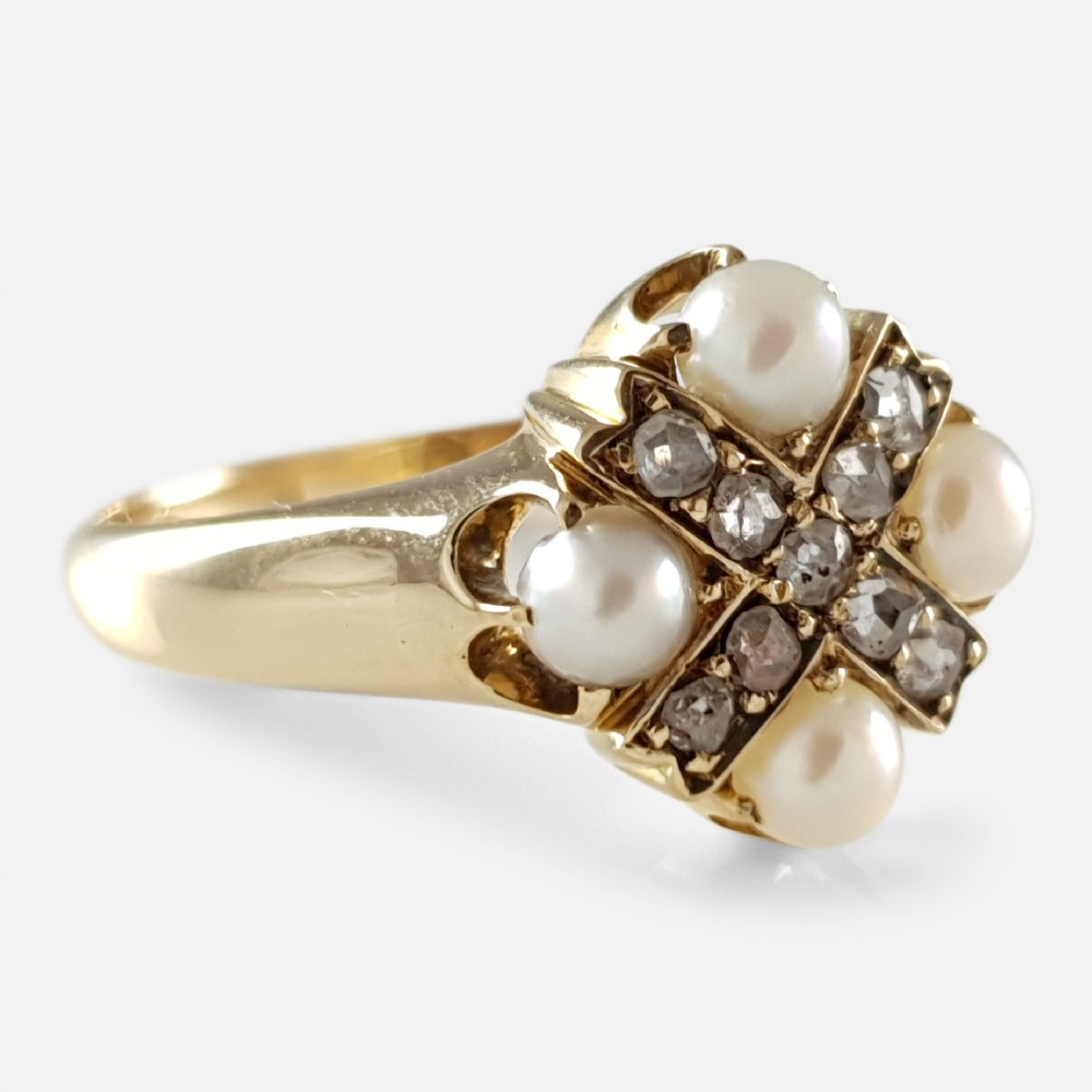 victorian 18ct yellow gold pearl and diamond cruciform ring