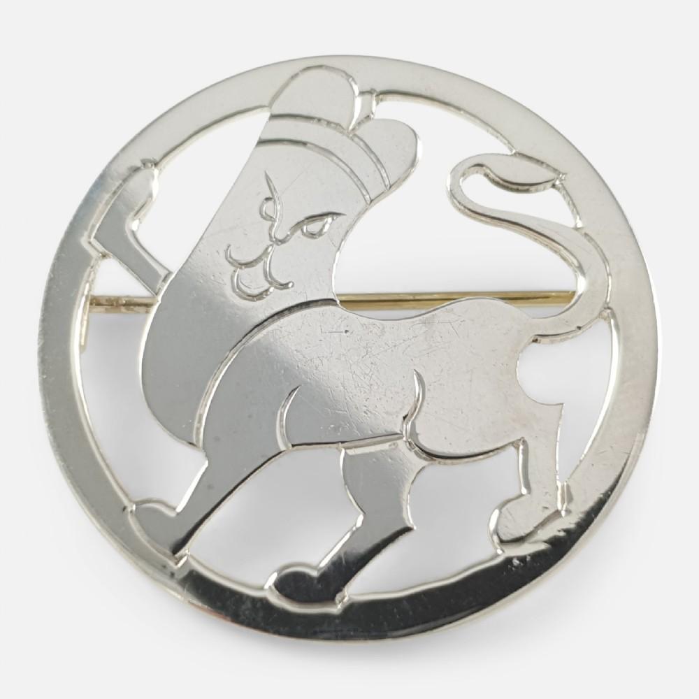 art deco london 1933 hg murphy sterling silver lion brooch