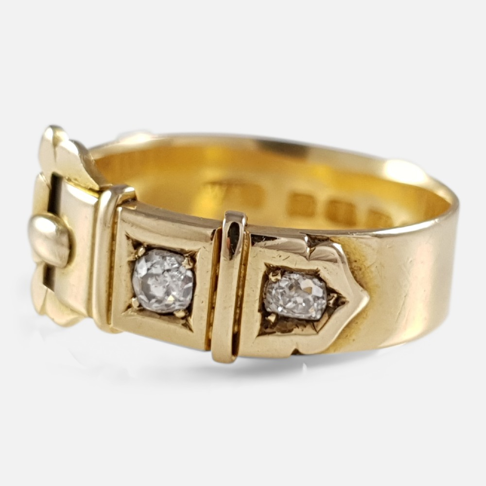 victorian 18ct yellow gold and diamond buckle ring birmingham 1880