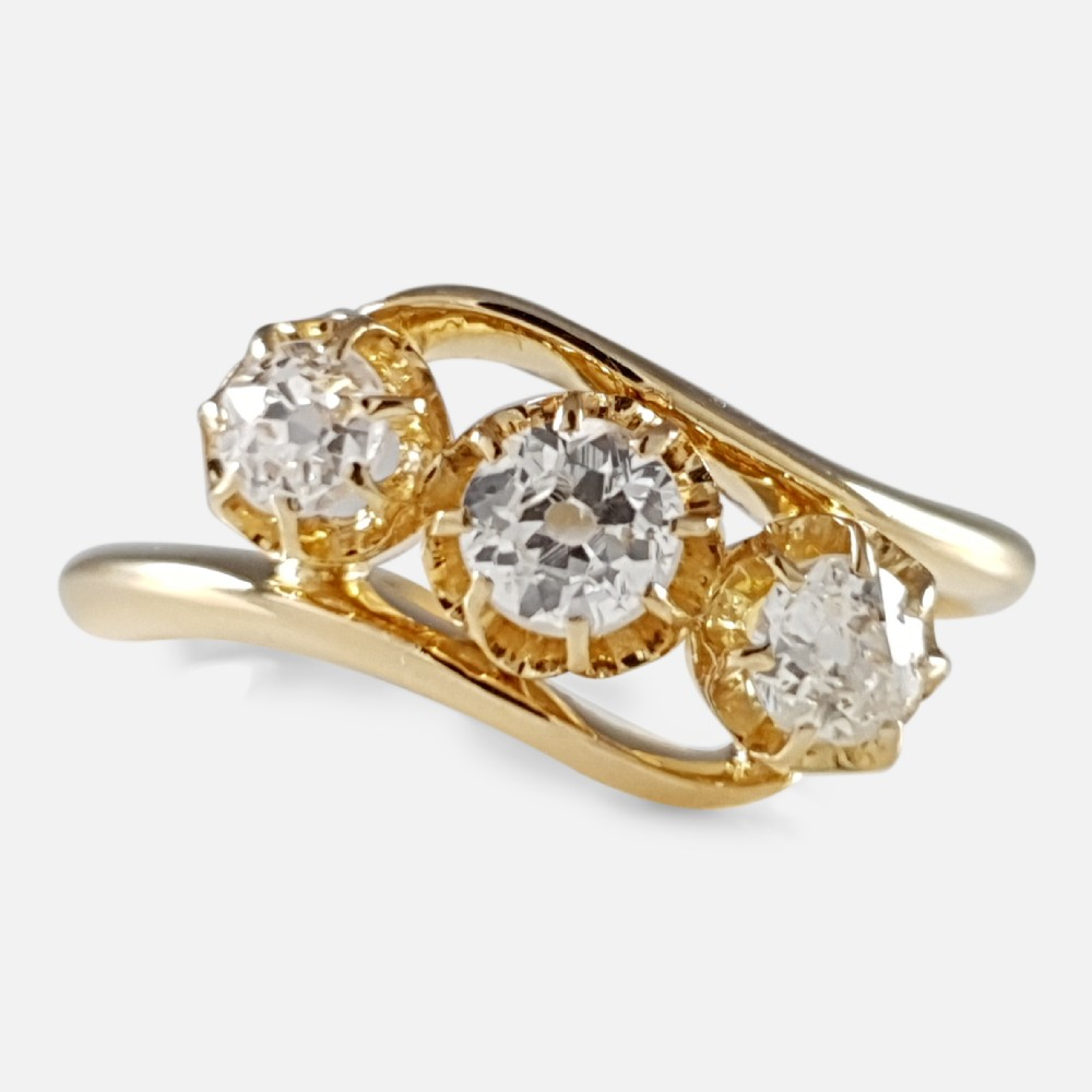 george v 18ct gold 048ct diamond trilogy crossover ring
