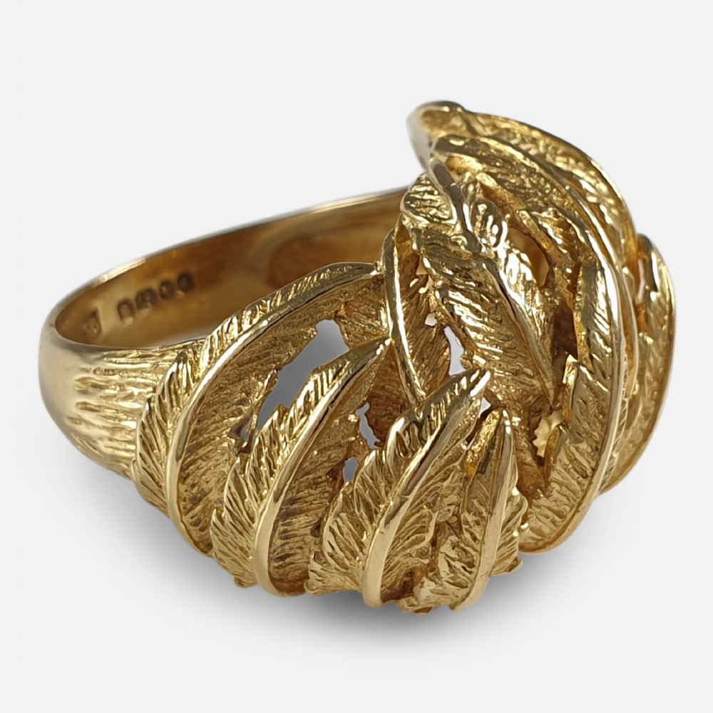 18ct yellow gold fern frond motif cocktail dress ring london 1967