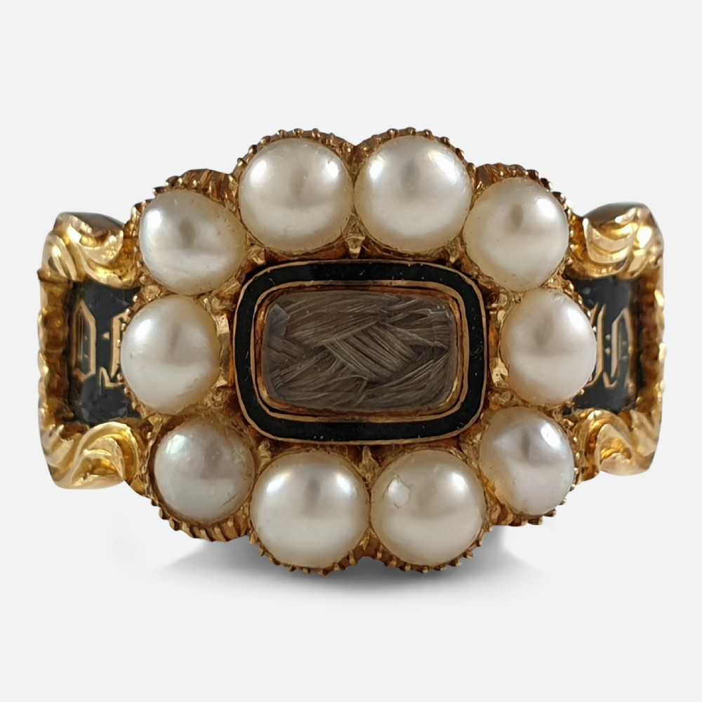 william iv 18ct gold split pearl enamel and hair memorial mourning ring 1833