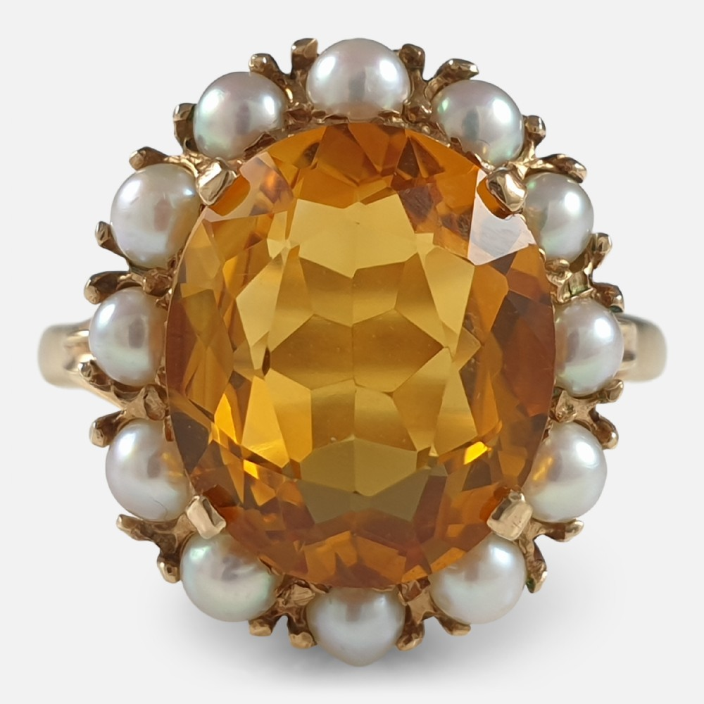 9ct yellow gold citrine and pearl cluster ring 1959