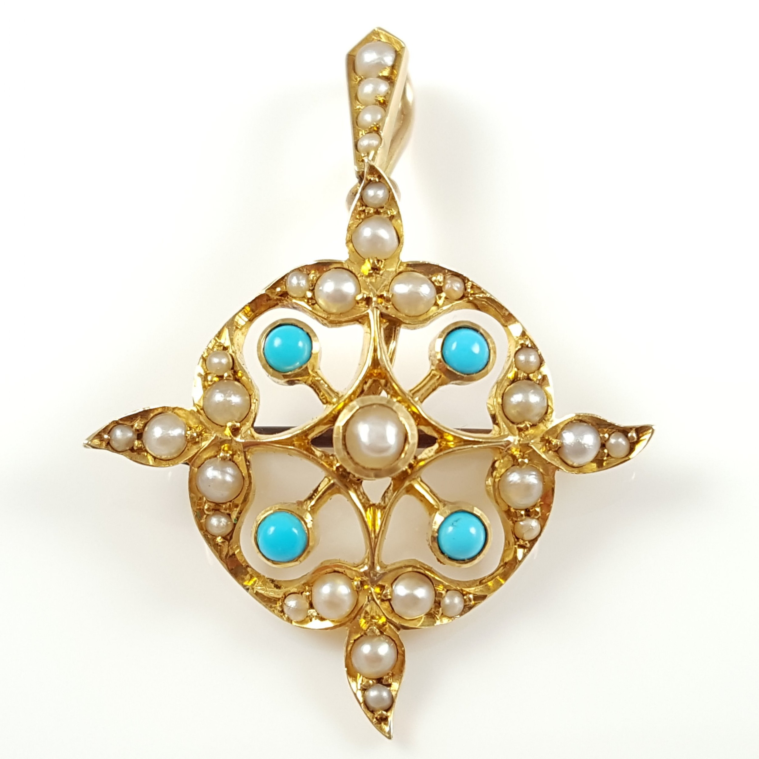 edwardian 15ct gold turquoise cabochon seed pearl pendant brooch