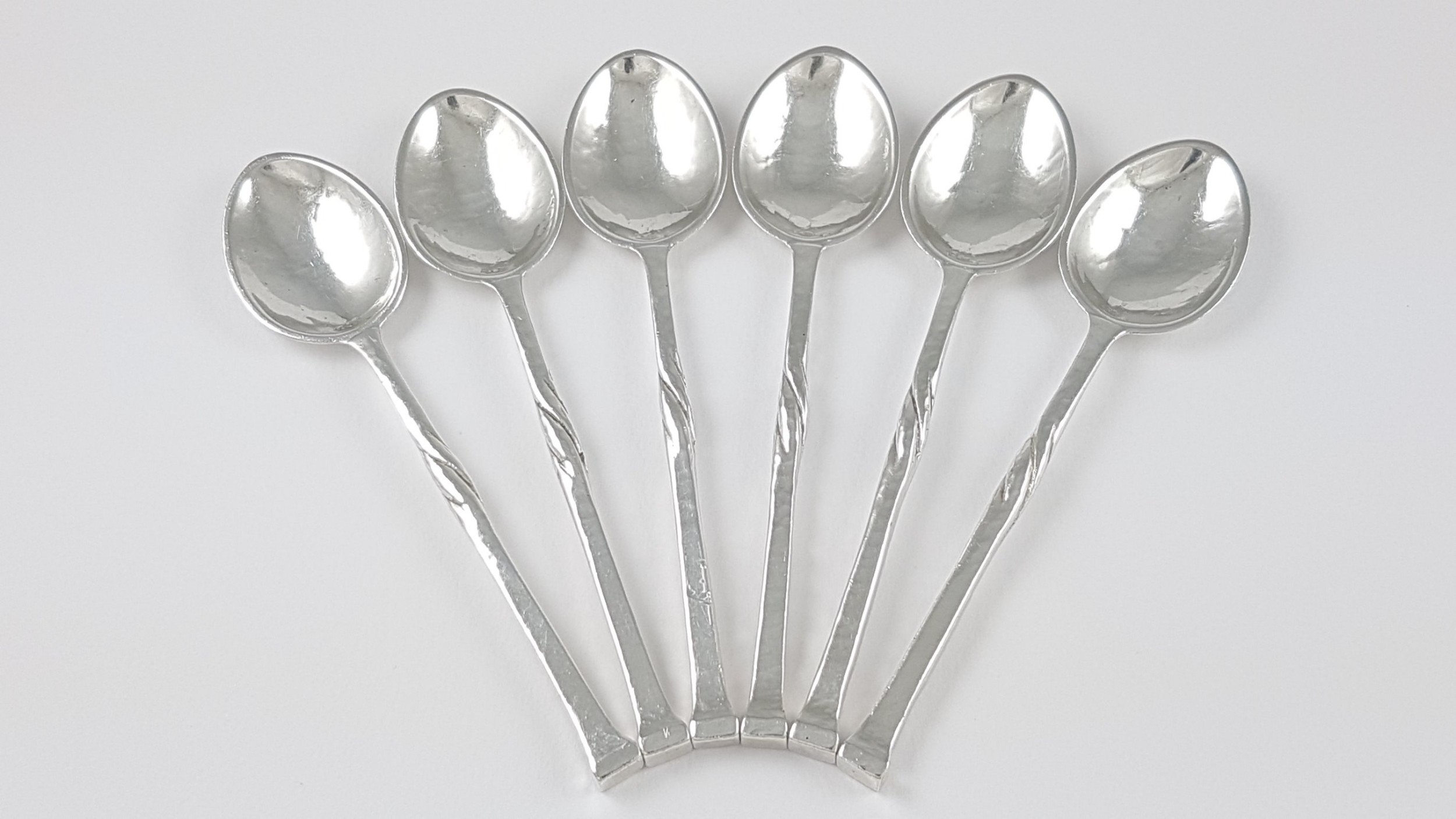 set of 6 arts crafts solid silver coffee spoons omar ramsden 1935