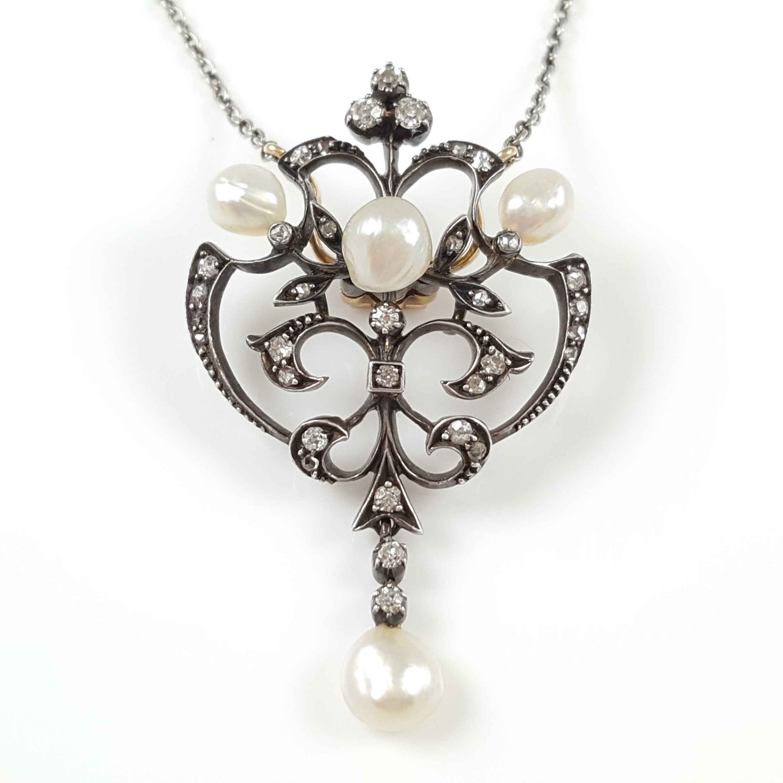 edwardian silver gold pearl diamond pendant necklace circa 1900