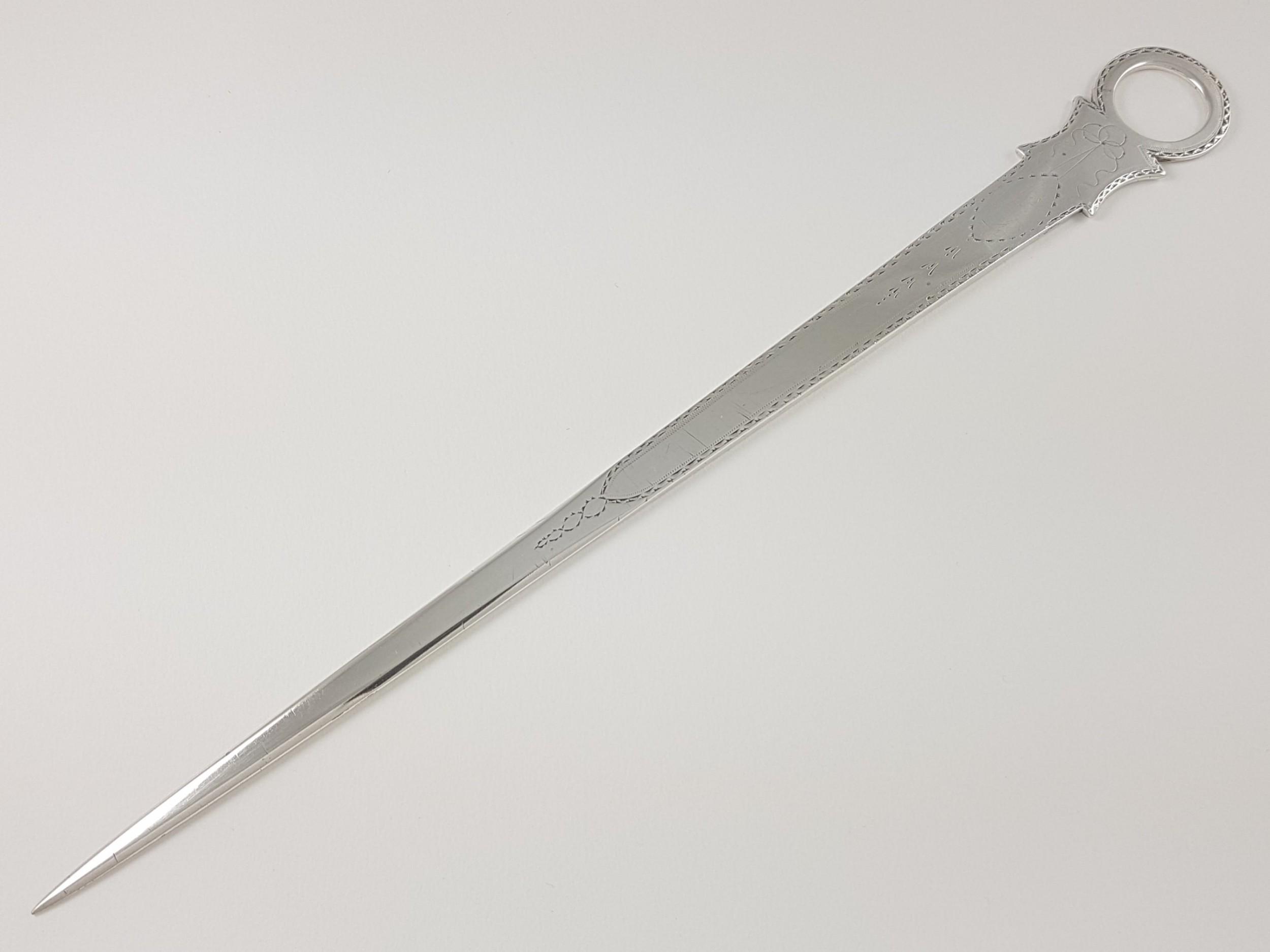irish george iii sterling silver bright cut meat skewer letter opener dublin 1793