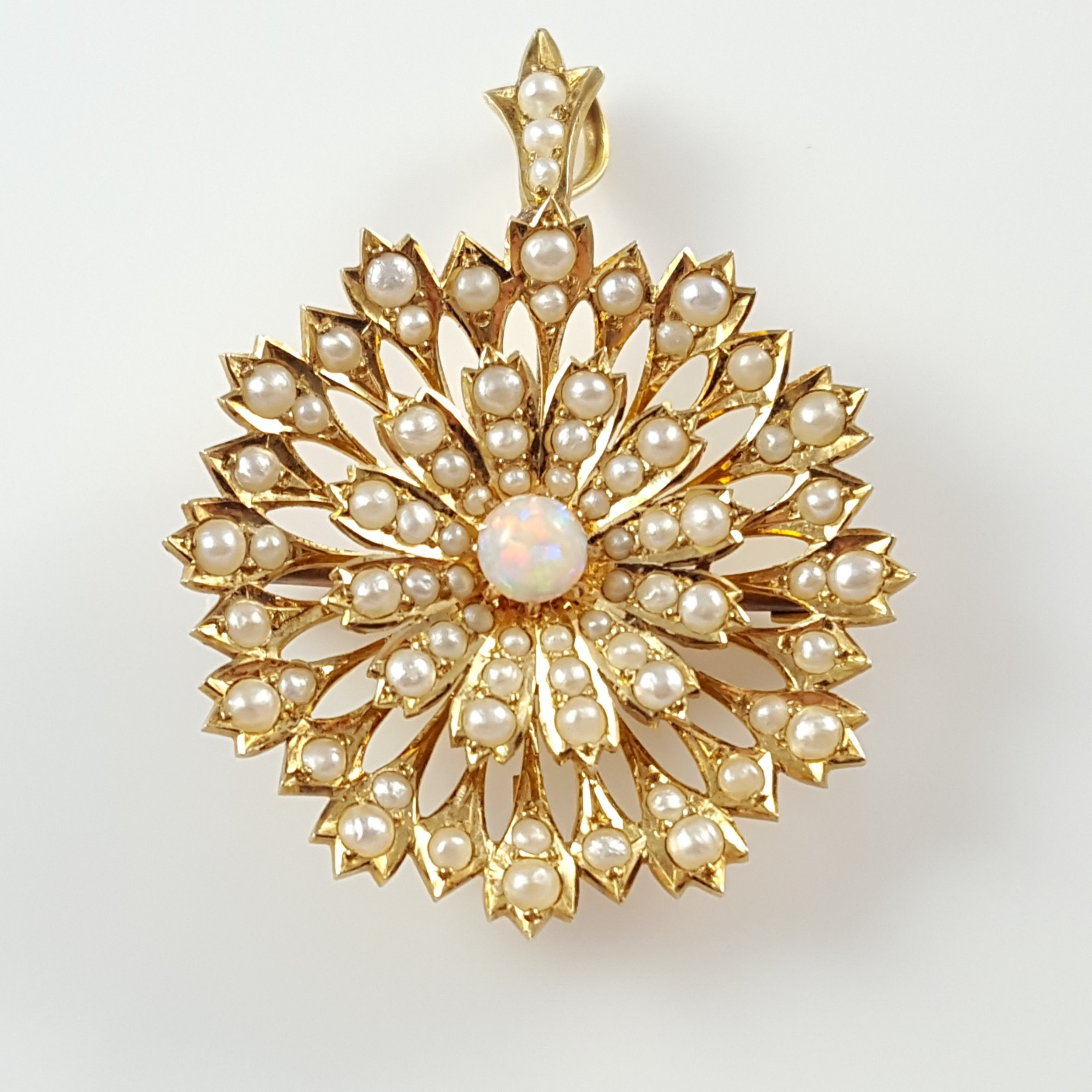 edwardian 15ct gold opal cabochon seed pearl pendant brooch