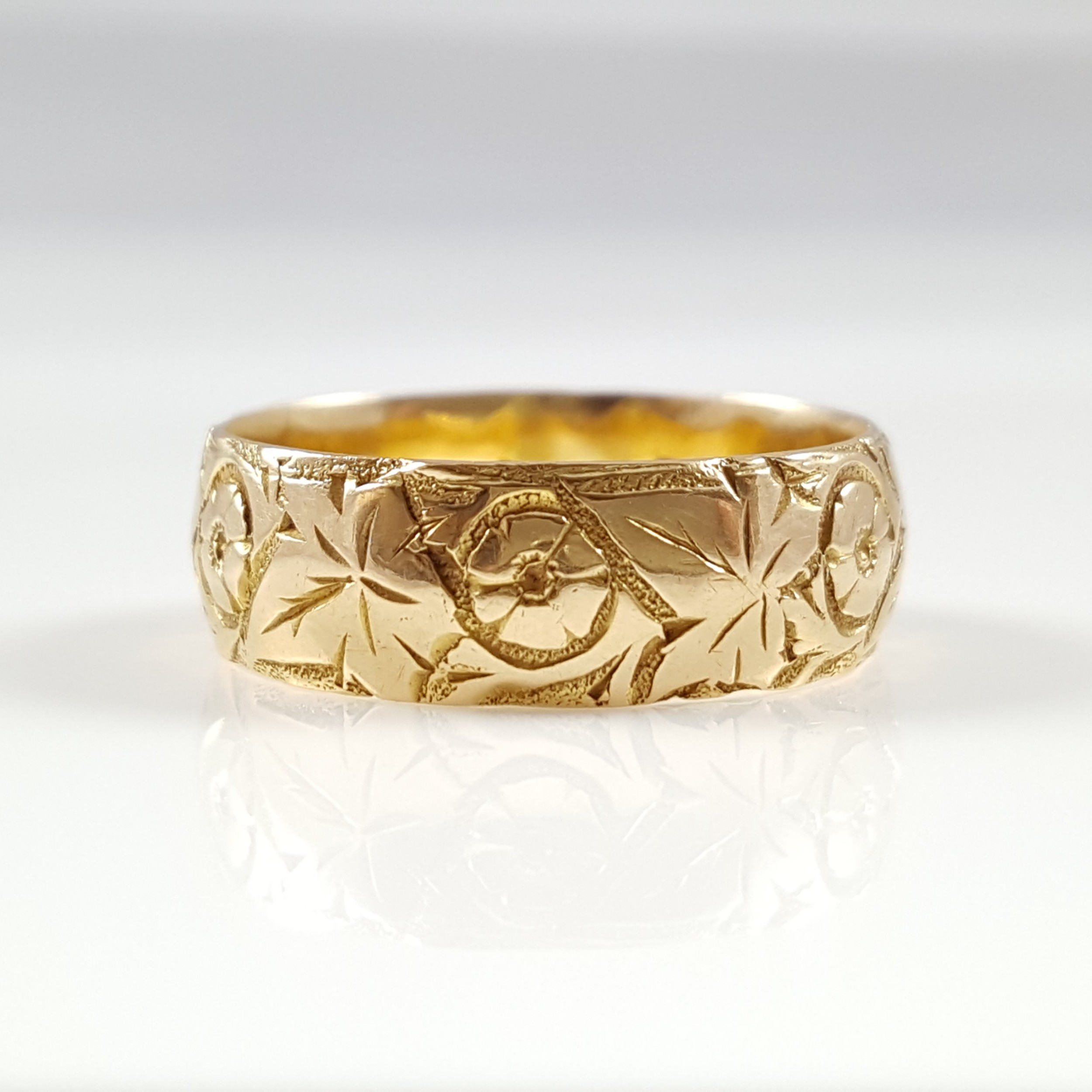 Edwardian 18ct Gold 6mm Floral Engraved Wedding Band Ring Chester