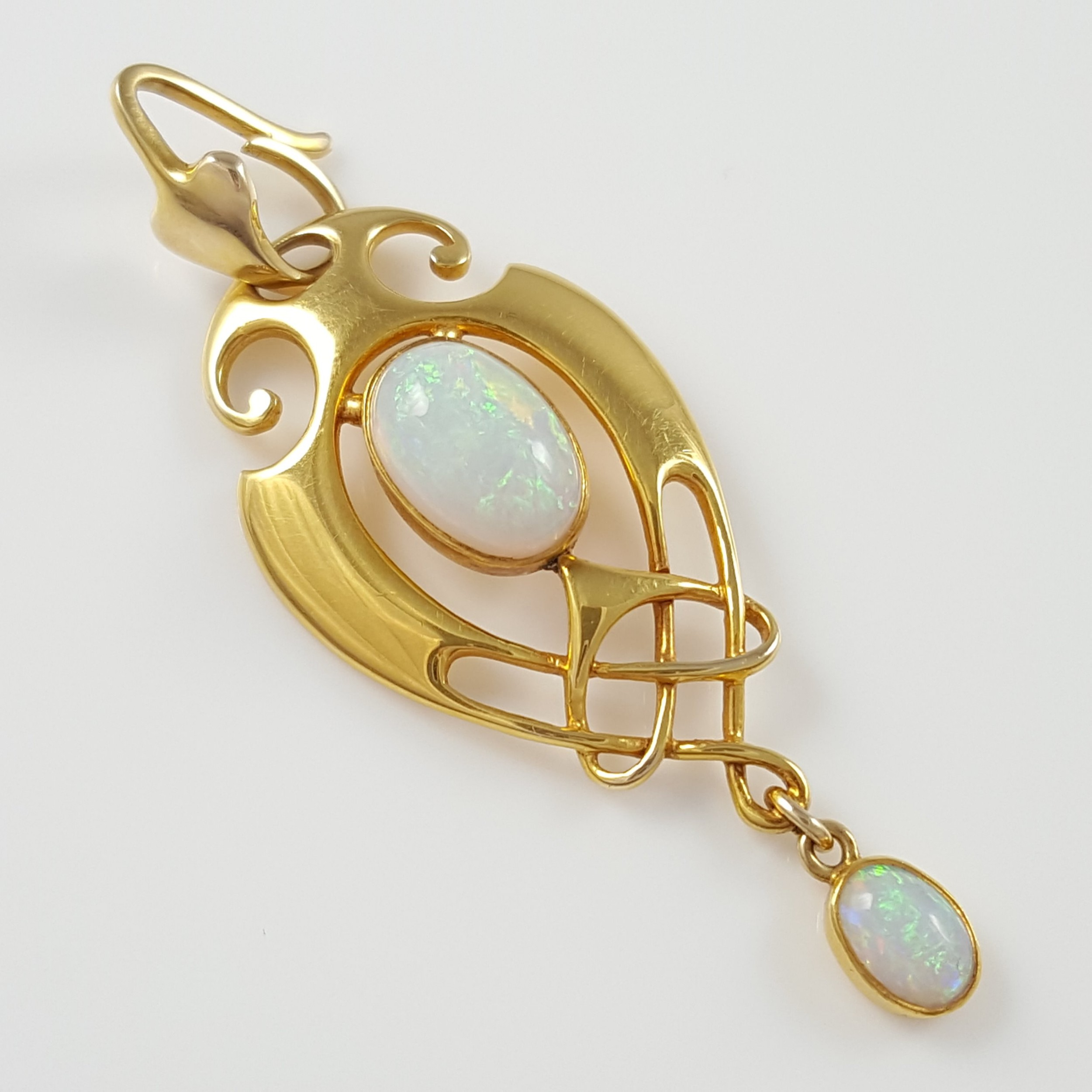 murrle bennett co art nouveau celtic revival 15ct gold opal pendant
