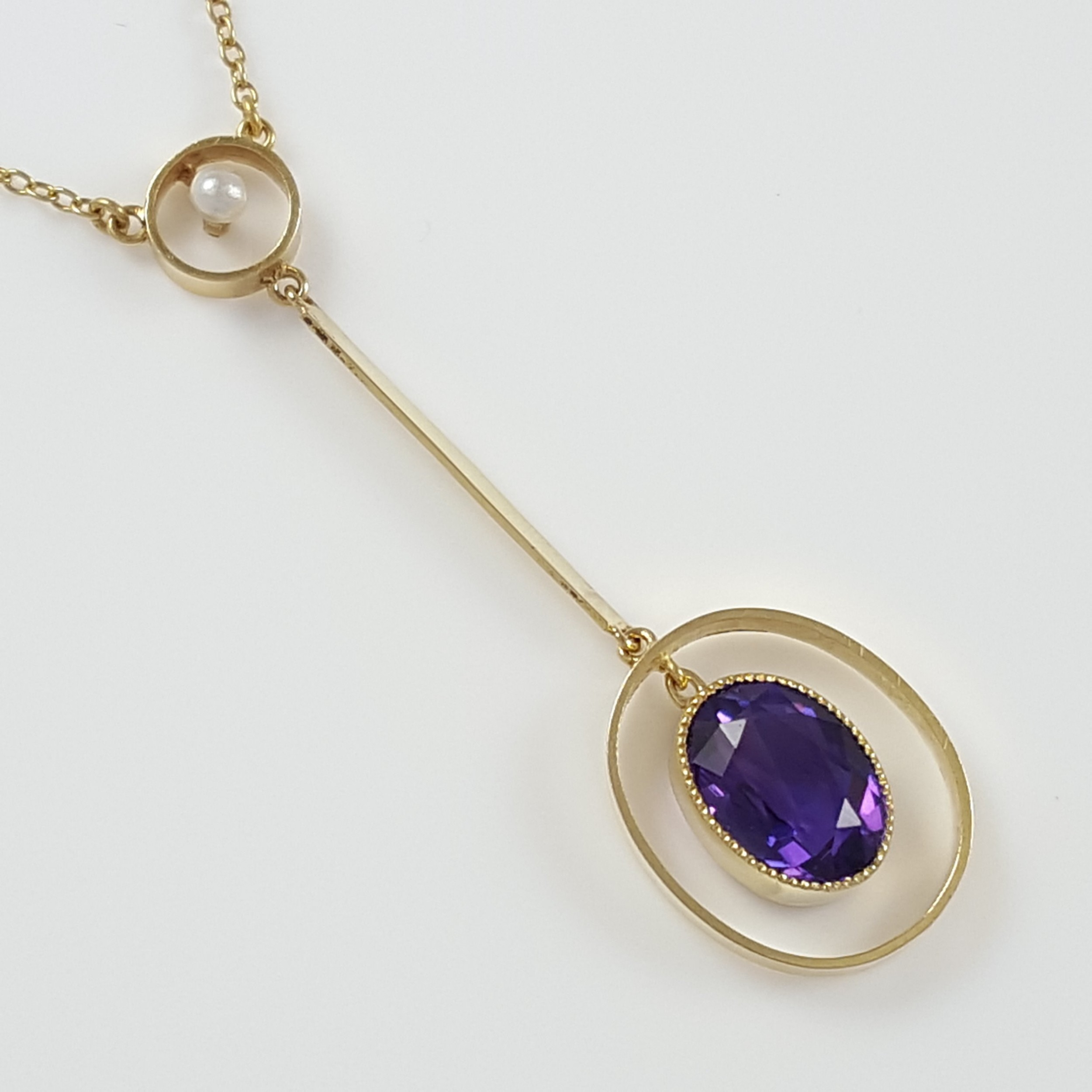 15ct yellow gold amethyst seed pearl lavalier pendant necklace circa 1900