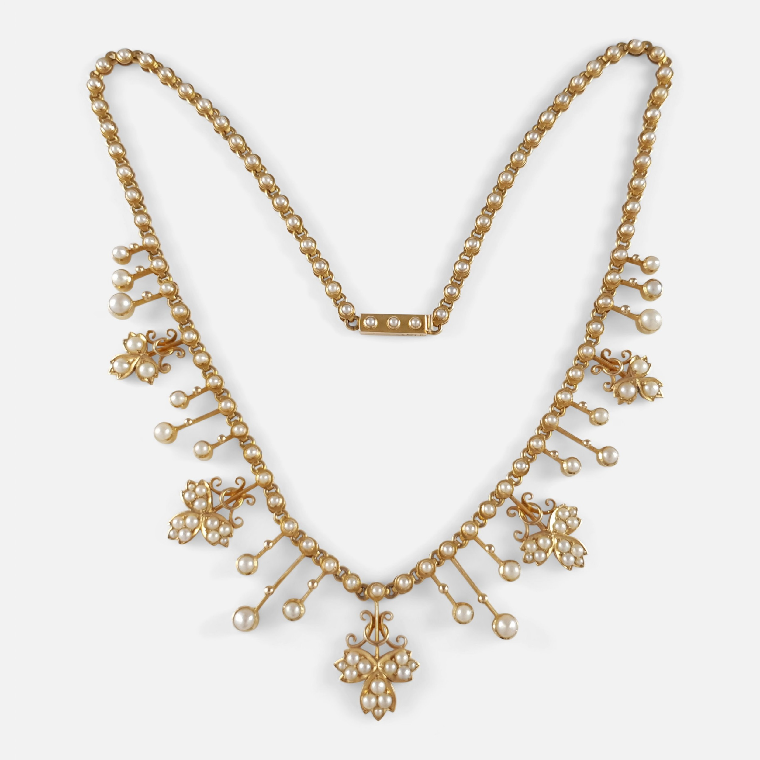 edwardian 15ct yellow gold seed pearl fringe and foliate necklace circa 1905