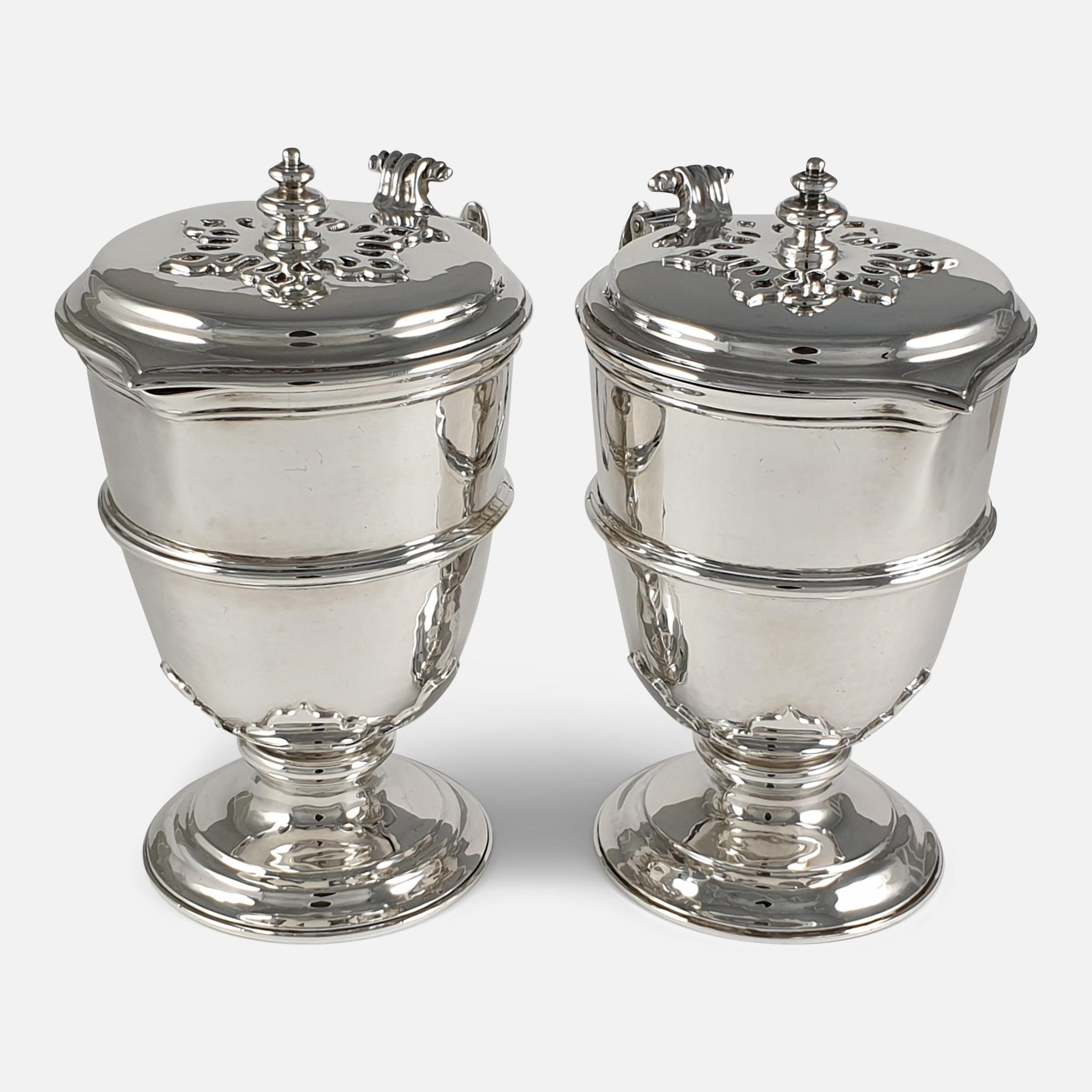pair of planished sterling silver jugs johnson walker tolhurst