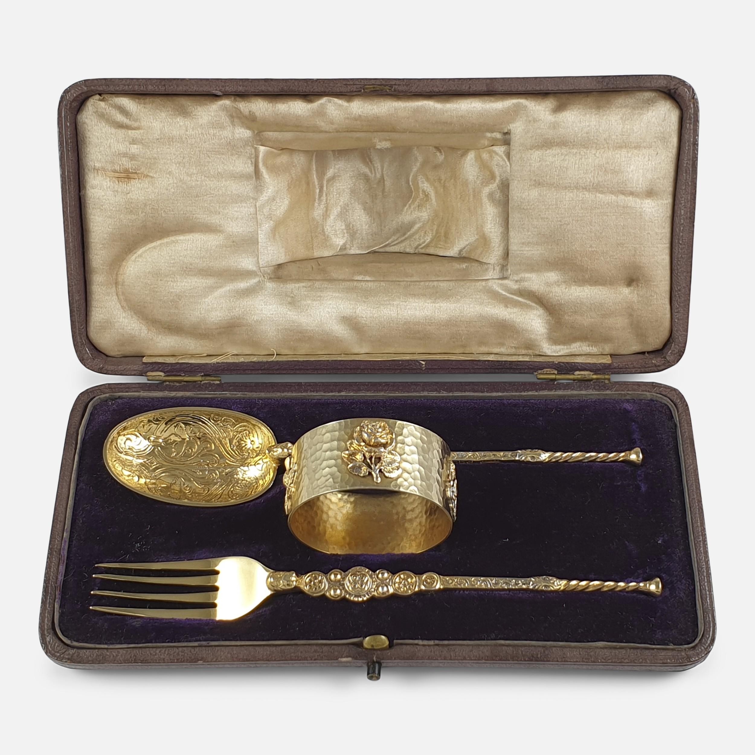 george v sterling silver gilt 3 piece christening set london 1910