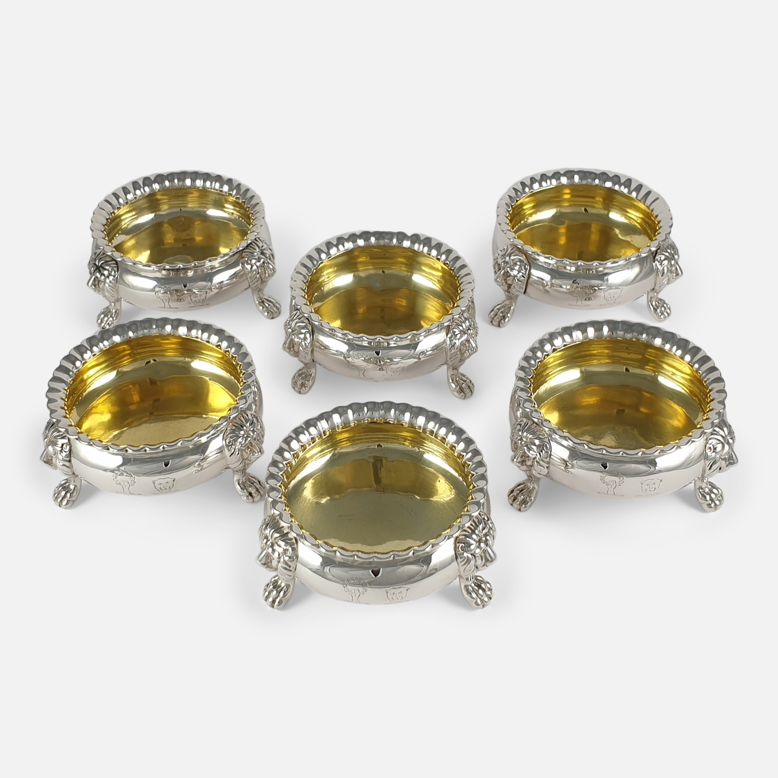 set of six george iv sterling silver table salts 1823