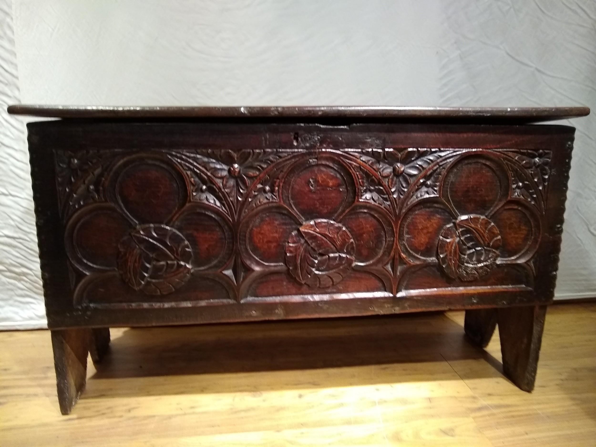 16th century oak plank coffer