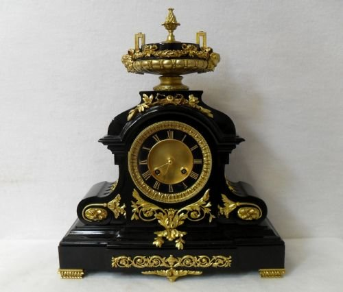 black slate clock with ormolu mounts