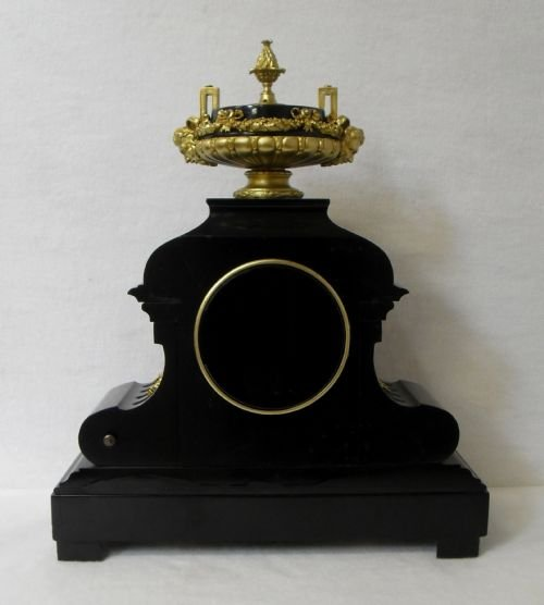 black slate clock with ormolu mounts - photo angle #4