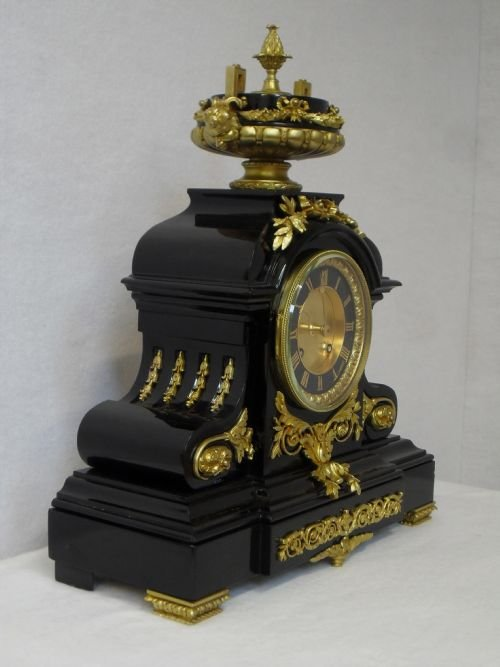 black slate clock with ormolu mounts - photo angle #2