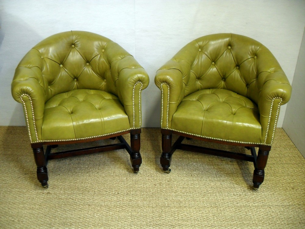 pair of leather tub chairs 282743 sellingantiques co uk