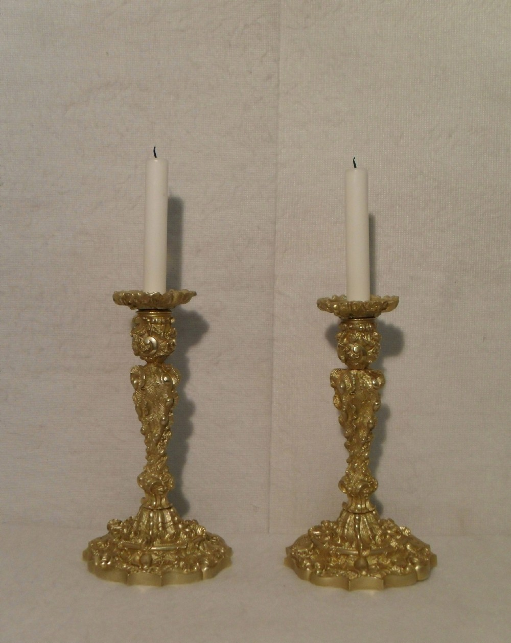 pair of french rococo style candlesticks