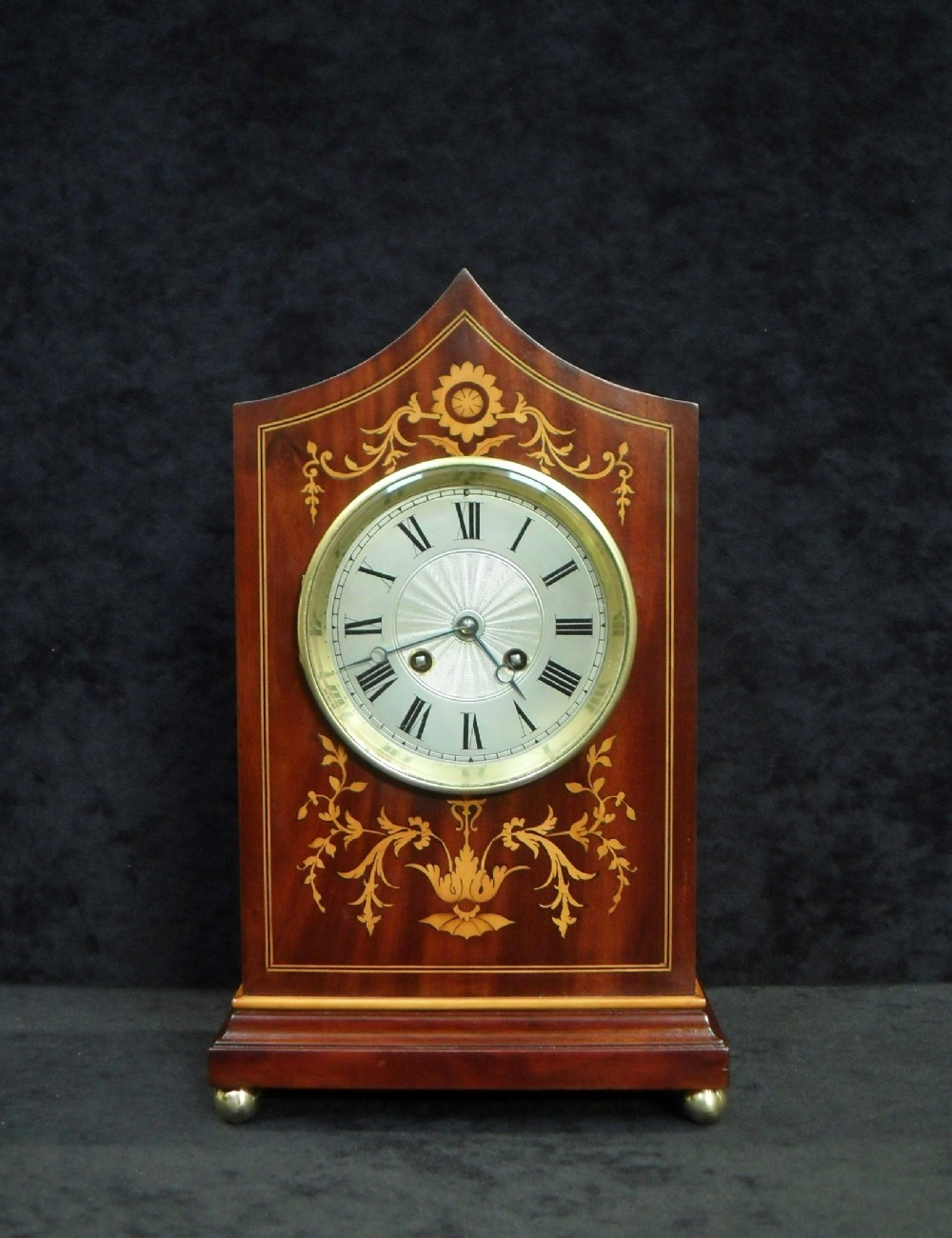 french mahogany and inlaid mantel clock