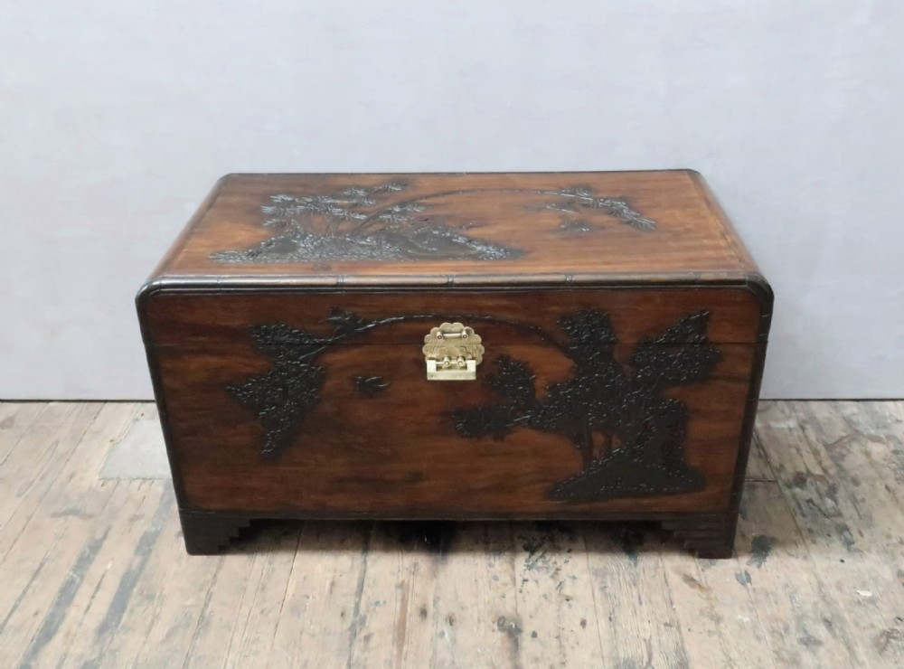 oriental freestanding carved camphor wood chest