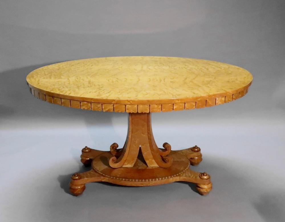 late regency birds eye maple centre table attributed to gillows