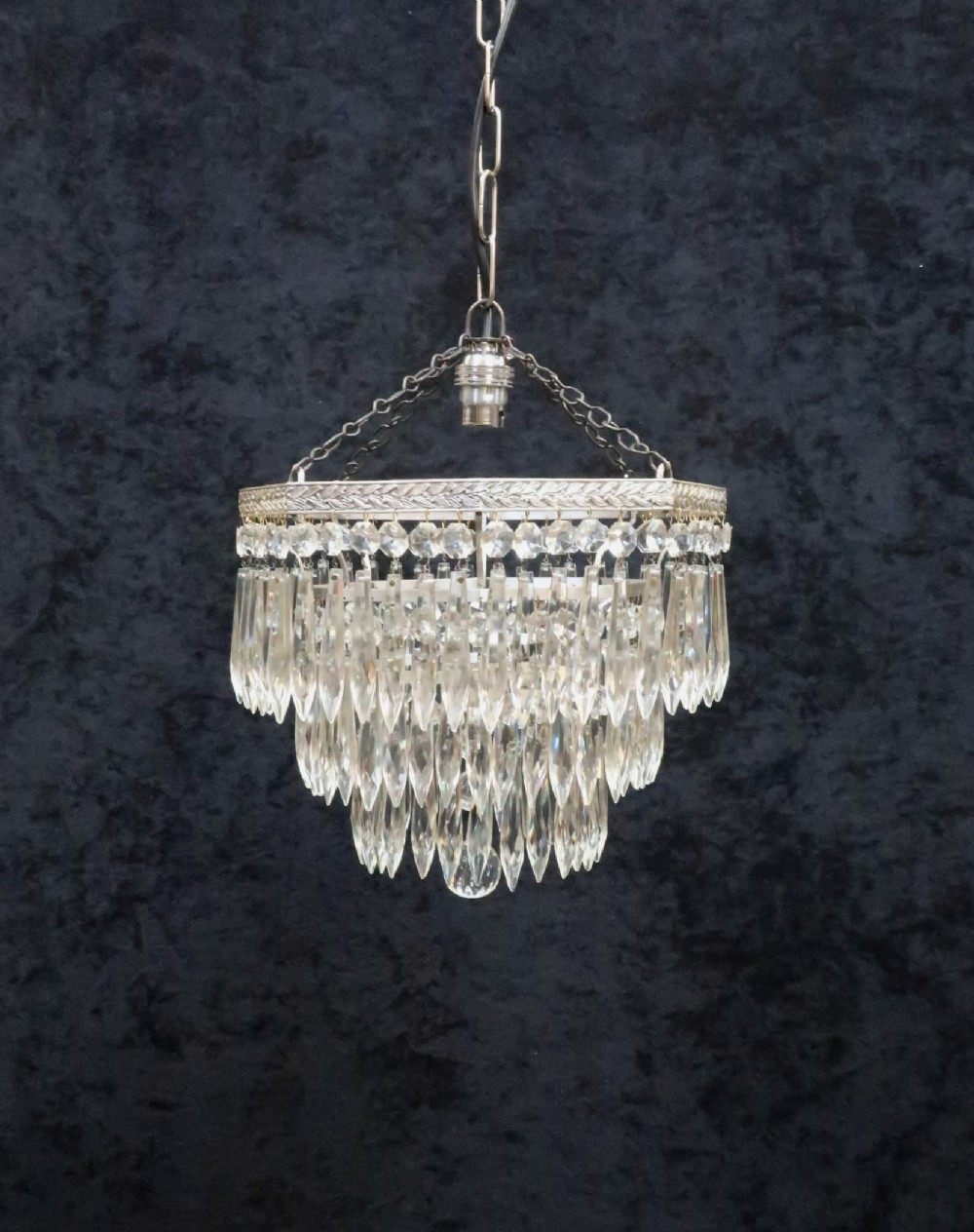 art deco chrome octagonal crystal glass chandelier