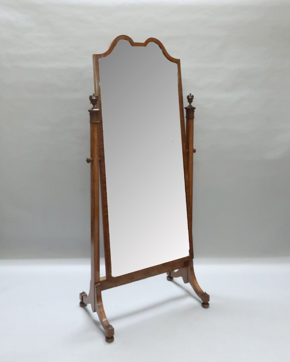 edwardian sheraton revival satinwood cheval mirror