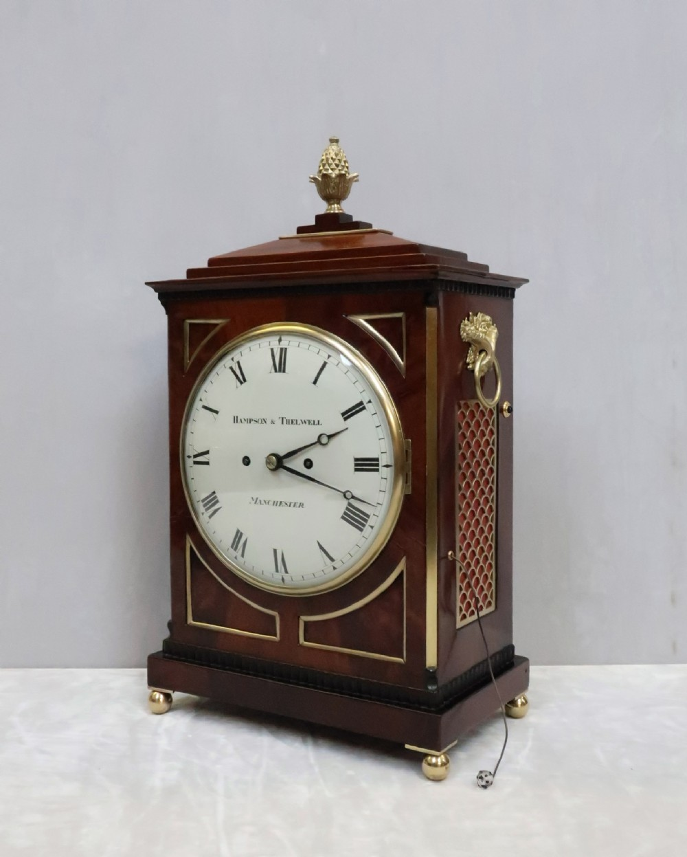 english george iii mahogany bracket clock by hampson thelwell