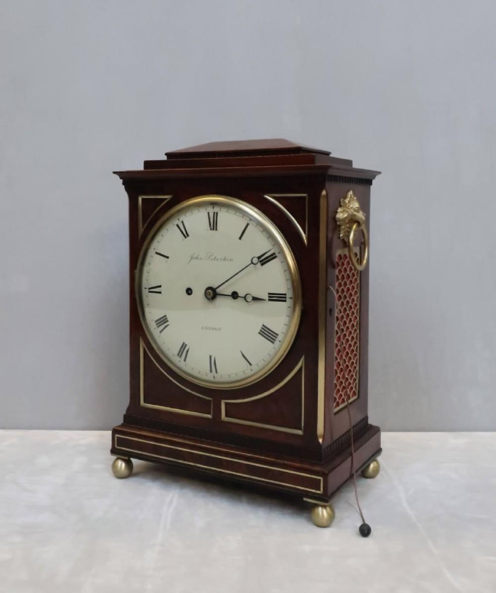 william iv mahogany bracket clock by john peterkin
