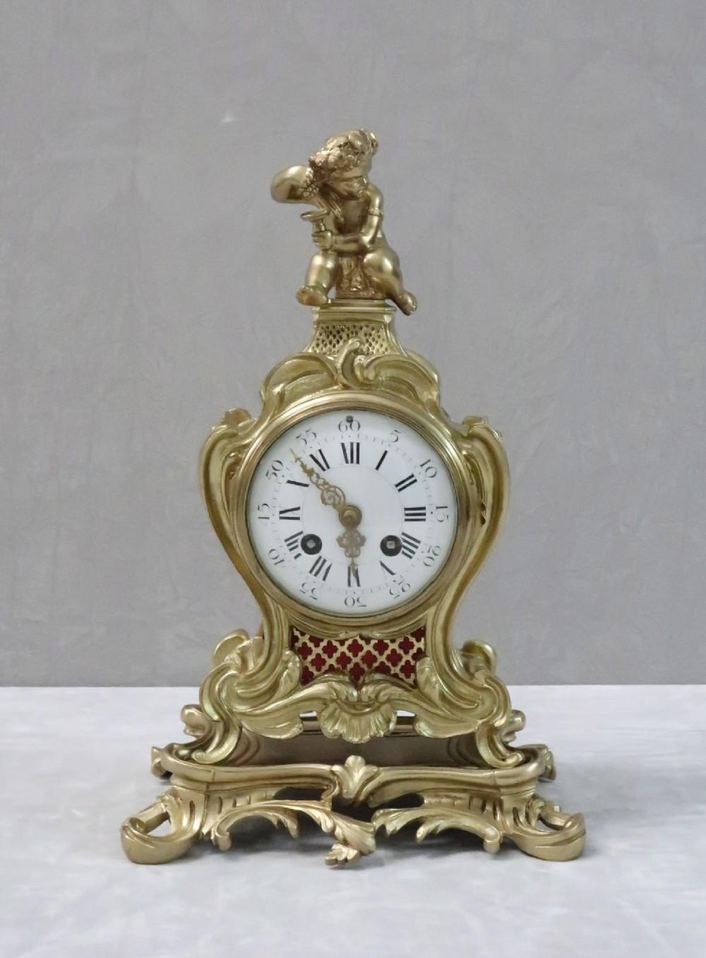french brass gilt rococo style mantel clock by samuel marti